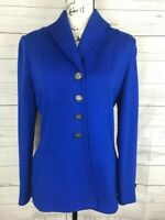 St John Collection Marie Gray Santana Knit 6 Royal Blue Blazer Cardigan Sweater