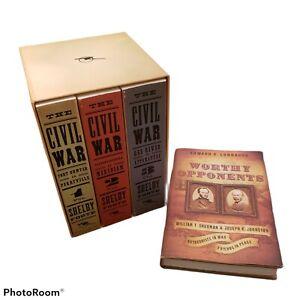Civil War Volumes 1-3 Box Set by Shelby Foote (1986, Trade Paperback) + Bonus!