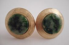 VTG Textured Gold Tone Round Green Jade Cufflinks 23mm