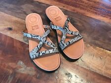 aa19915ff0 NEW FITFLOP STRATA THONG LEATHER SLIDE SANDALS SNAKE PRINT SIZE 7/38
