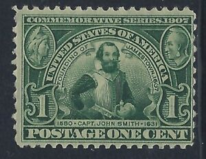 United States, Scott #328, 1c Jamestown Exposition, MLH