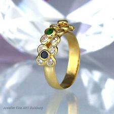 Ring in 585/- Gelbgold mit 1 Saphir 1 Rubin 1 Smaragd + 12 Diamanten ca 0,12 ct.