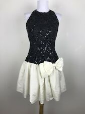 Vintage 1980s Prom Dress Sequin Bow Halter Black White Mini Party Dance S