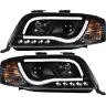 Scheinwerfer Set für Audi A6 C5 4B 01-05 Facelift Light Tube TFL Optik schwarz