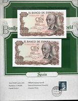 World Banknotes Spain 100 Pesetas 1970 P 152 UNC Prefix 7U Consecutive