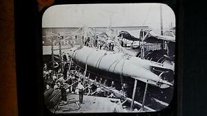 1900'S ANTIQUE GLASS LANTERN SLIDE PHOTOGRAPH USS SUBMARINE ADDER A-2 SS-3