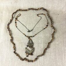 2 Vintage Necklace Hardstone Agate Chip Marble Glass Bead Brown Gold Amber Vtg