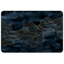 New Marble Look Individual Placemat  Blue Gold Rectangle kitchen placemats