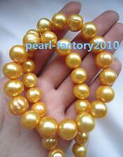 "new natural 22"" AAA 12-11MM SOUTH SEA  golden PEARL NECKLACE 14K GOLD  CLASP"