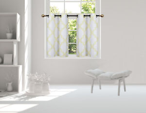 """1 SET SMALL SHORT WINDOW LINED CURTAIN PANEL TREATMENT MOROCCAN PATTERN 36"""""""