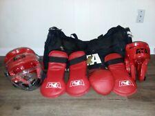 Ata Taekwondo Sparring Gear Gloves Helmets & Foot Pads Sz 11/13 W/ Bag