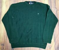 Mens Vintage Chaps Dark Green Long Sleeve Pullover Jumper Sweater Size XLarge XL