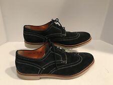 Santoni Men's Blue Suede Leather Lace Up Oxfords  Wing Tip size 10D Fits 11US