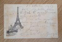 Parigi cartolina della Torre Eiffel viaggiata nel 1889 timbro dell'Esposizione