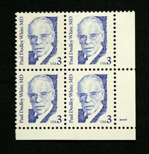 US Stamps #2170 ~ 1986 PAUL DUDLEY WHITE - GREAT AMERICANS 3c Plate Block MNH