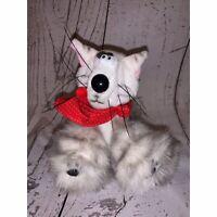 "Hallmark Vintage 1991 Crazy Cat Kitten Plush 5"" White Gray"
