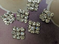 Crystal Clear Rhinestones Square Silver Metal Buttons, Bridal Embellishment x 10