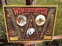 Winchester Bullet Board Ammo Sign Tin Vintage Garage Bar Decor Old Rustic