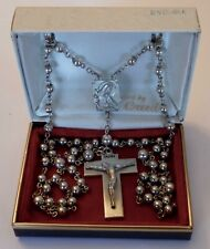 Vintage Sterling Silver Large Rosary 31 Grams with Case