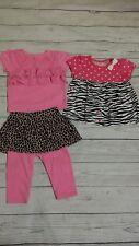 Jumping Beans Garanimals 6-9 Month Baby Girl Zebra Leopard Neon Pink Shirt Pants