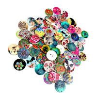 DIY Craft Mixed 100pcs Wooden Buttons for Sewing Scrapbooking 2 Holes 20mm