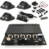 4CH Vehicle Car Mobile DVR Realtime Video Recorder + 4 CCD Camera + Cable Remote