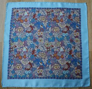 Blue floral Silk Pocket square Handkerchief 40cm. Traditional Hand rolled