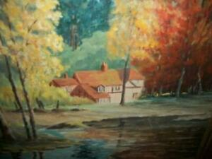 1940s OIL PAINTING LANDSCAPE LAKE COTTAGE FRENCH FARMHOUSE NAILED CANVAS FRAMED