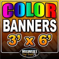 3'x 6' Custom Vinyl Banner, 13oz FULL COLOR $36. (3x6)