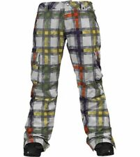 Burton Women's LUCKY Snow Pants - WHT PAINTED PLAID - Size XL - NWT