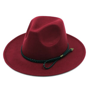 Women Men Wool Blend Panama Hat Wide Brim Felt Fedora Trilby Cap Snake Cord Band