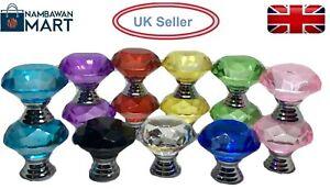 30mm DIAMOND CRYSTAL KNOB Glass Door  Handle Drawer Kitchen Cupboard Cabinet UK