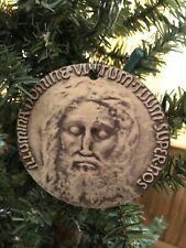 """UNIQUE Holy Face of Jesus Medal Ornament 3.5"""" - WOOD - Veronica's Veil - Shroud"""
