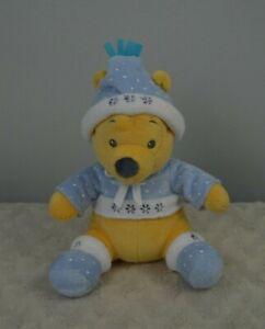 Winnie the Pooh Bear Plush Stuffed Animal Blue White Polka Dots Snowflakes Hat