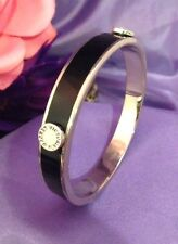 Victoria's Secret Logo Bracelet Black Enamel Silver Tone Rare Find NWOT 4T