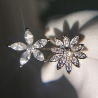 Engagement 925 Silver Filled White Sapphire Wedding Flower Brand Adjustable Ring