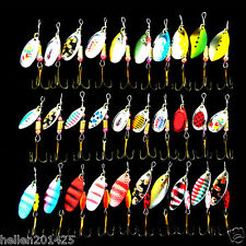 Lot 30 Pcs Mixed color Assorted Spoon Metal Fishing Lure Spinner Baits Tackle