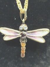 Dragonfly Pendant Necklace on goldtone chain