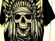 Mens Black INDIAN CHIEF SPIRIT T-Shirt Tee Size XL 100% Cotton