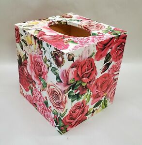 Handmade Decoupage Wood Tissue Box Cover, Pink Roses