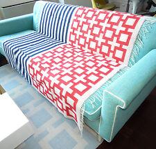 JONATHAN ADLER NEW Baby Alpaca Blue Stripe Red Nixon Ivory Blanket Throw 60 x 60