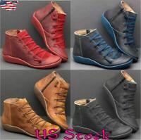 Women Autumn Arch Support Boots Zipper Round Toe Hot Flat Heel Boot Casual Shoes