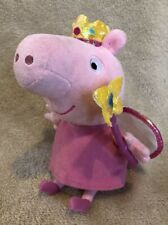 "Peppa Pig Plush Doll Princess Peppa - Ty Beanie baby 7"" 2014  fairy crown wings"