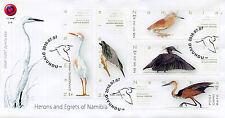 Namibie 2016 FDC HERONS de Namibie 5 V Set Housse Crabier chevelu Oiseaux Timbres