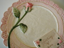 NIB OMNIBUS BY Fitz & Floyd Thinking of You Canape Ceramic Plate with Rose 8 1/2