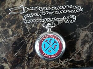 WEST HAM ICF INNER CITY FIRM CHROME POCKET WATCH WITH CHAIN (NEW)