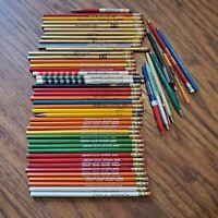 Vintage Pencils Pens w/ Advertising 50 Mix Lot Unsharpened Banks Insurance
