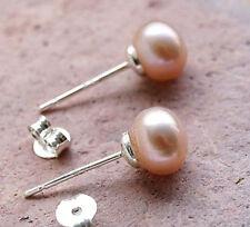 Handarbeit Ohrstecker Silber Perle Aprikot Rosa 7 mm Rund Natürlich Echt Modern