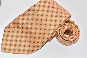 Men's Authentic Kiton Napoli Orange Silk Neck Tie Made in Italy