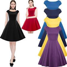 Retro Womens 50s Audrey Hepburn Style Stretch Dress Party Rockabilly Swing Dress